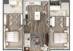 The Ridge Apartment Homes 2 Bedroom Apartment Floor Plan - Midvale, UT