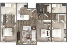 The Ridge Apartment Homes 3 Bedroom Apartment Floor Plan - Midvale, UT