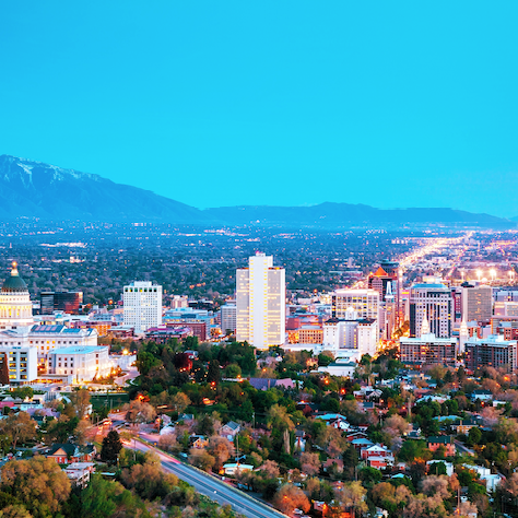 Salt Lake City Downtown Skyline near The Ridge Apartment Homes